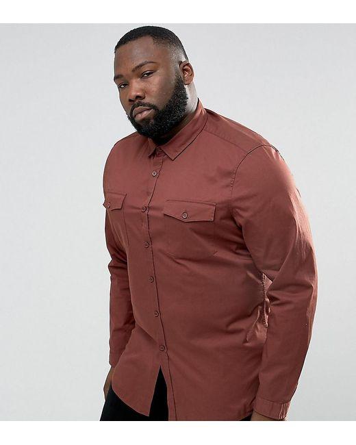 ASOS   Brown Plus Slim Fit Two Pocket Shirt In Rust for Men   Lyst