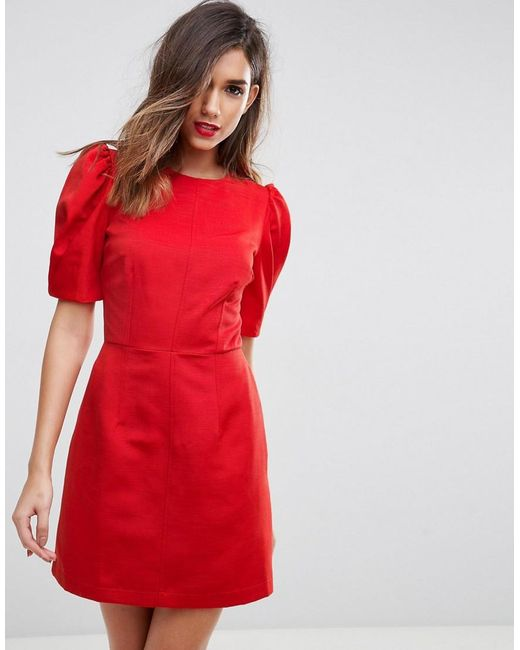 Asos Shift Dress With Puff Sleeve in Red