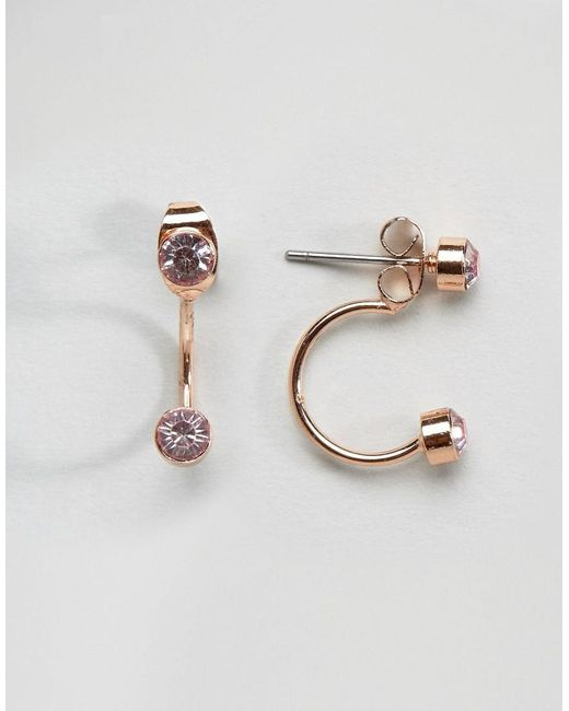 Pieces | Metallic Rose Gold Earrings | Lyst
