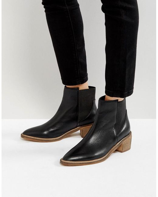 park leather kitten heel chelsea boots in black lyst