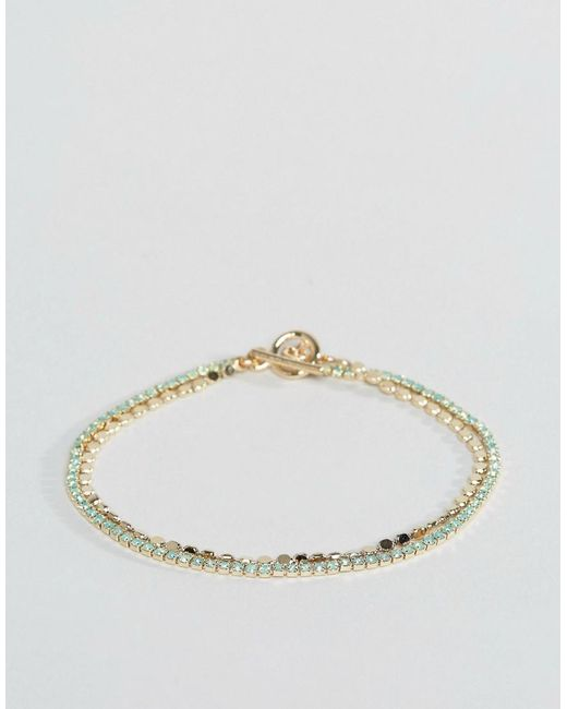 ASOS | Blue Limited Edition Fine Jewel And Chain Toggle Bracelet | Lyst