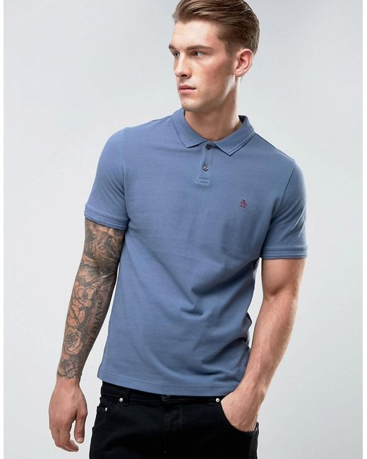 Original Penguin | Winston Polo Pique Small Logo Slim Fit In Dark Blue for Men | Lyst