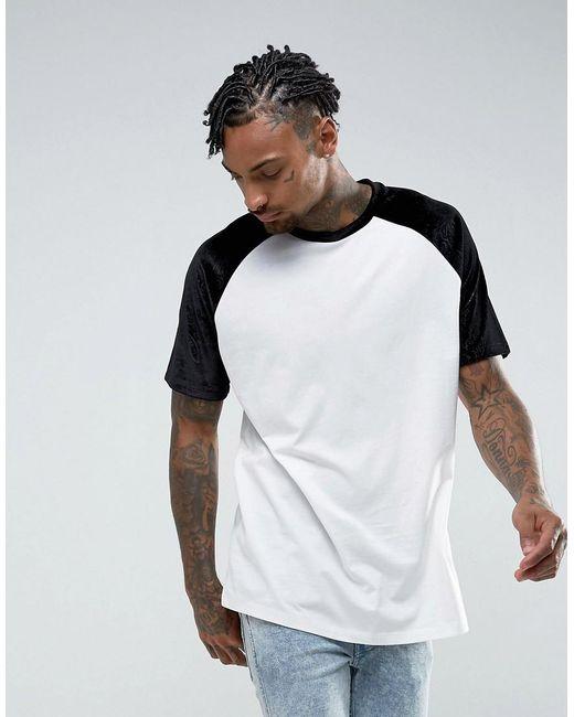 ASOS | White Oversized Raglan T-shirt With Embossed Floral Velvet Sleeves for Men | Lyst