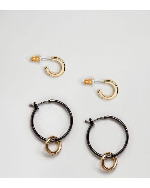 ASOS | Metallic Pack Of 2 Mixed Metal Hoop Earrings | Lyst