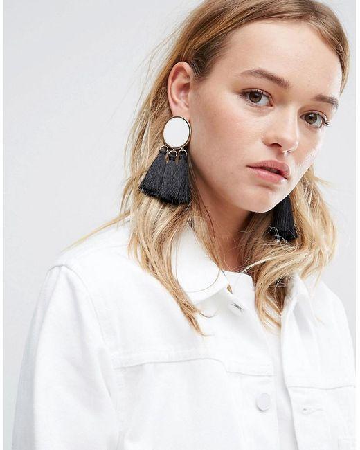 ASOS | Metallic Mono Tassel Earrings | Lyst