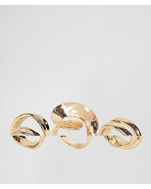ASOS | Metallic Pack Of 3 Abstract Swirl Rings | Lyst