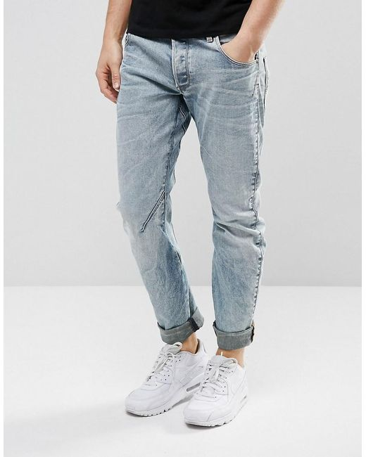 g star raw arc 3d slim jeans light aged rip and repair in. Black Bedroom Furniture Sets. Home Design Ideas
