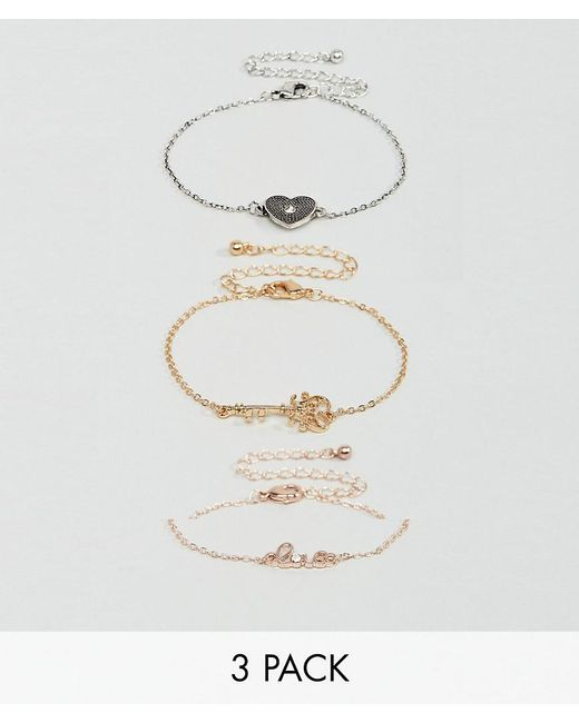 New Look | Multicolor Heart And Key Charm Bracelet | Lyst
