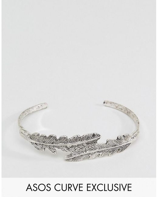ASOS | Metallic Exclusive Feather Cuff Bracelet | Lyst