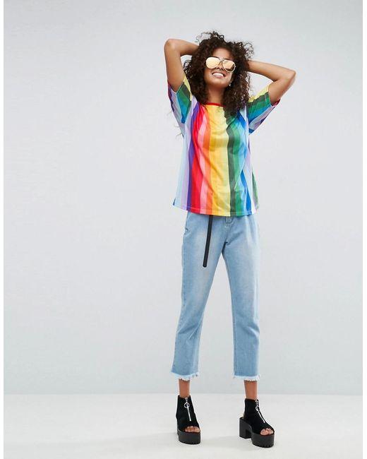 Asos T Shirt In Boyfriend Fit And Rainbow Stripe Lyst