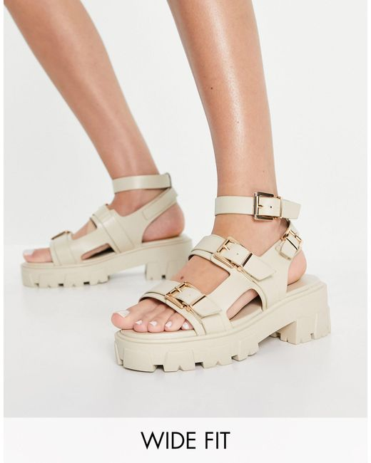 Raid Wide Fit Natural Prestone Chunky Heeled Sandals