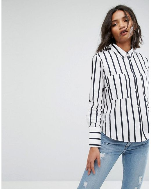 Mango | Blue Stripe Shirt | Lyst