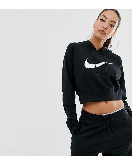 fdb8eef25550 Nike Black Swoosh Cropped Hoodie in Black - Lyst
