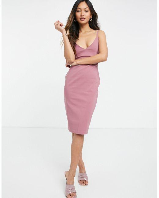 Vesper Pink Bodycon Strappy Midi Dress