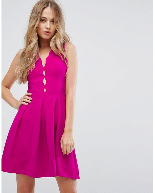 Lyst Adelyn Rae Serena Fit And Flare Scallop Dress In Pink