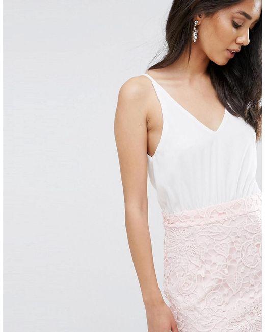 Ax Paris Cream 2 In 1 Crochet Skirt Mini Dress - Cream/pink AX PARIS 1IB1E1ofp