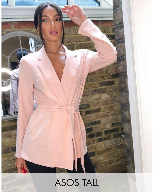 Пудрово-розовый Трикотажный Пиджак С Запахом ASOS, цвет: Pink