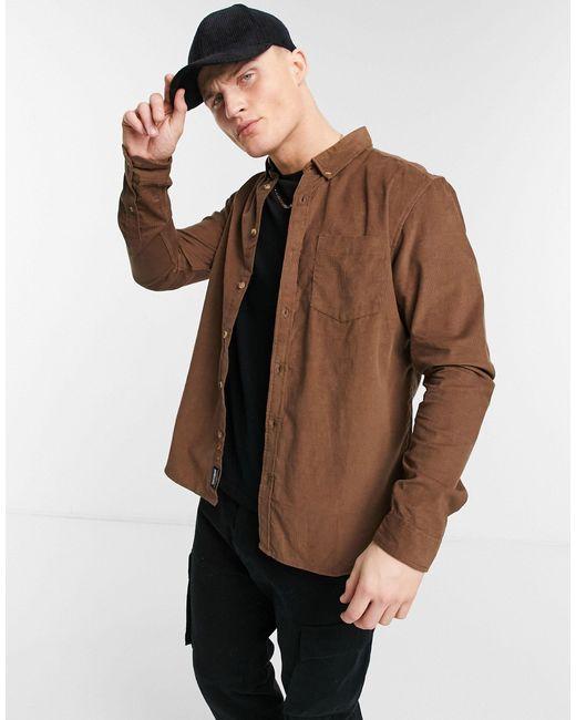 Camicia a coste color cuoio di Threadbare in Brown da Uomo