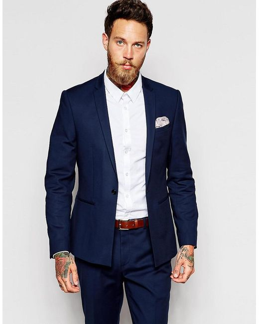 Asos Skinny Suit Jacket In Navy in Blue for Men - Save 62% | Lyst