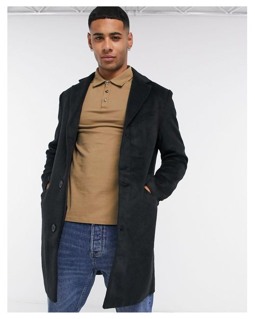 Another Influence Black Wool Blend Over Coat for men