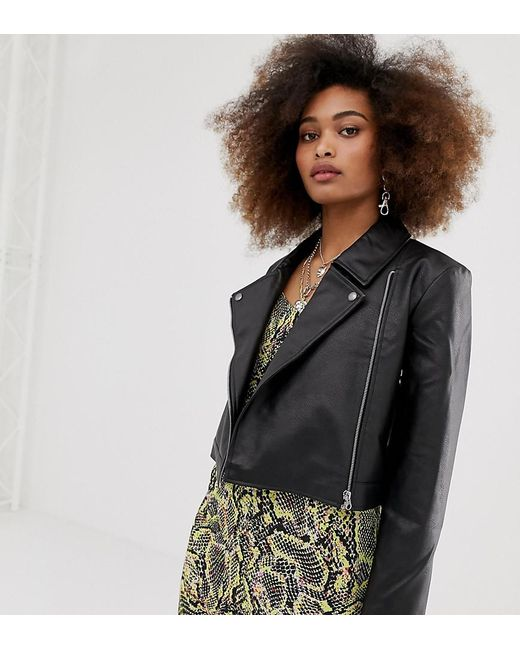 Collusion Black Petite Leather Look Biker Jacket