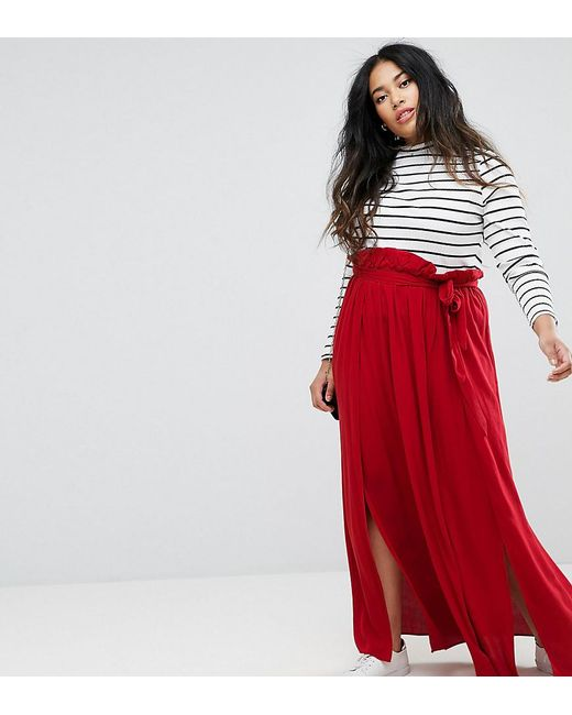 ASOS   Red Maxi Skirt With Belt And Thigh Split   Lyst