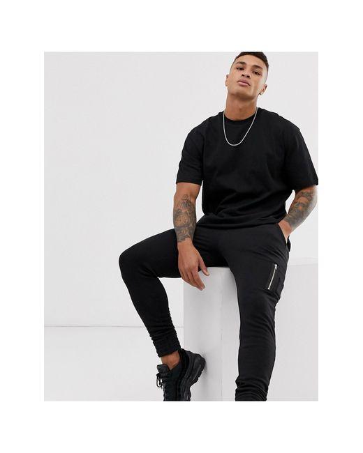 Черная Oversize-футболка -черный Topman для него, цвет: Black
