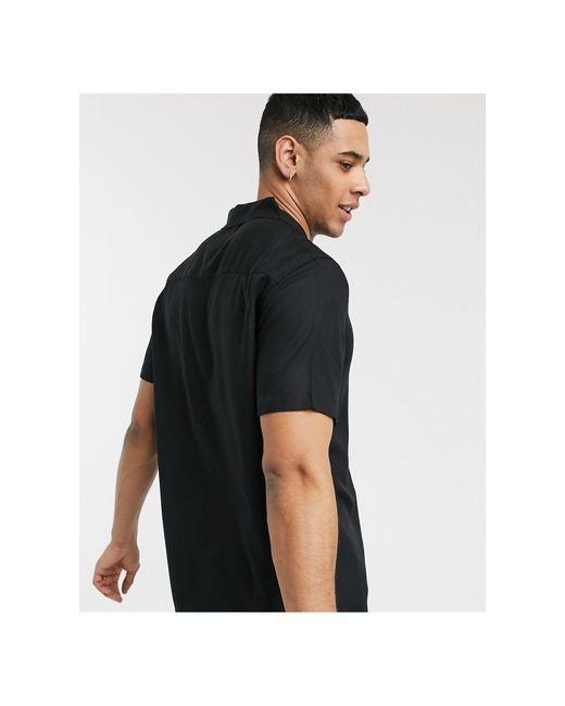 Черная Рубашка С Короткими Рукавами И Отложным Воротником -черный Topman для него, цвет: Black