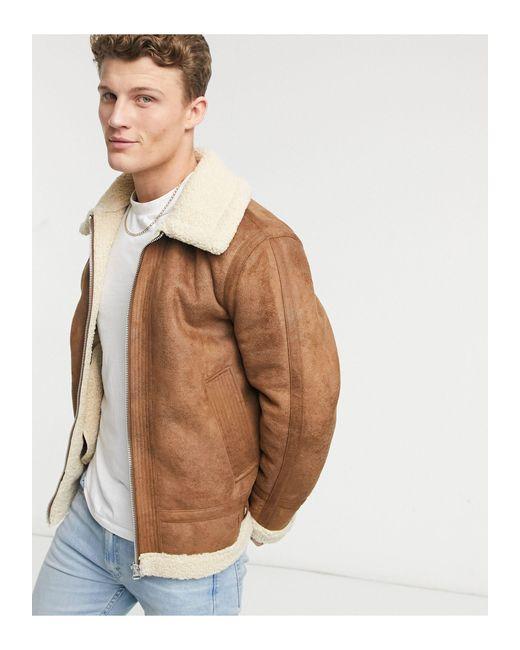 Topman Brown Tape Borg Jacket for men