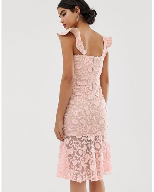 All Over Lace Embroidered Midi Dress With Frilly Off Shoulder Detail In Pink