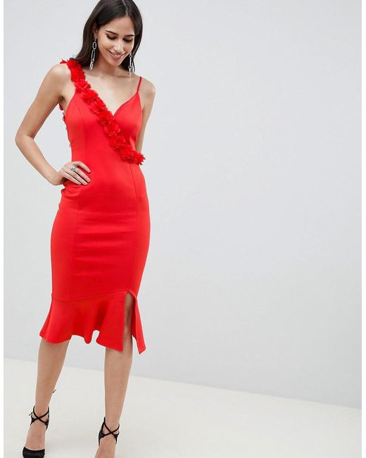 ASOS - Red Corsage Strap Pephem Midi Dress - Lyst