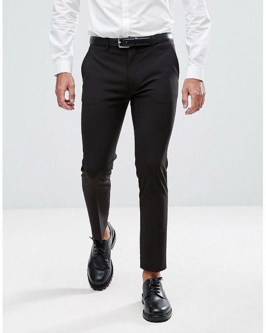 2e7e3cd7a04 ASOS Super Skinny Cropped Smart Pants In Black in Black for Men - Lyst