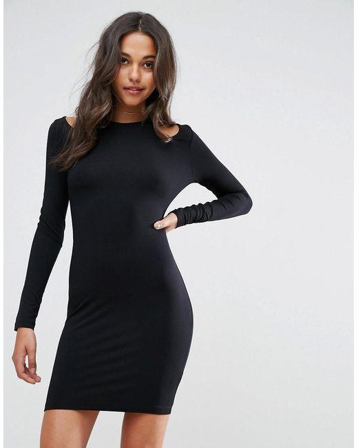 ASOS - Black Mini Cut Out Shoulder Bodycon Dress - Lyst