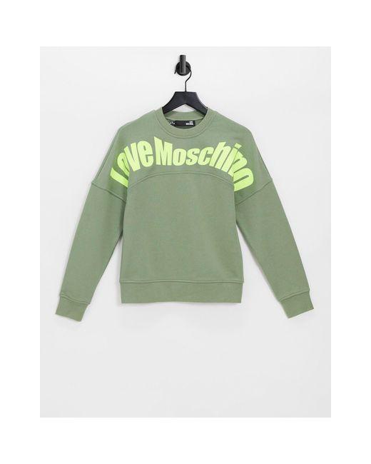 Зеленый Свитшот С Изогнутым Логотипом -зеленый Цвет Love Moschino, цвет: Green
