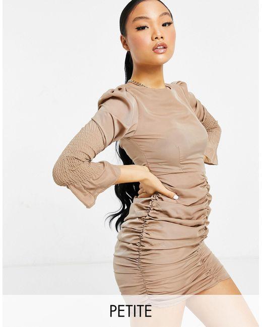 Бежевое Платье С Присборенными Манжетами -коричневый Цвет Missguided, цвет: Natural