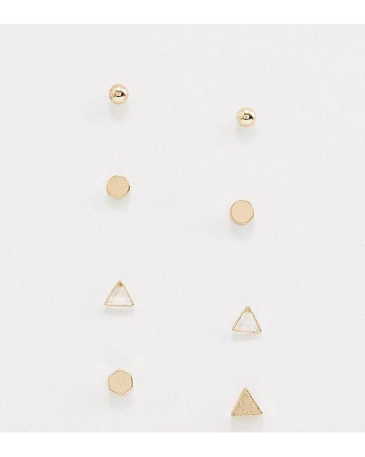 Nylon - Metallic Geometrical Multi Pack Stud Earrings - Lyst