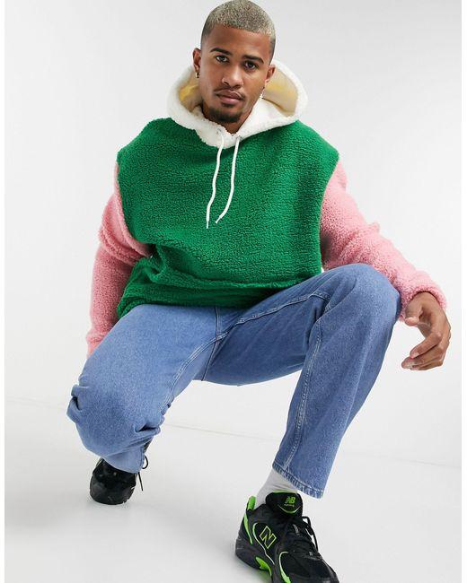 Oversized-худи В Стиле Колор Блок ASOS для него, цвет: Green