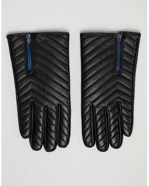 ASOS - Black Gants matelasss en cuir avec fermeture clair for Men - Lyst