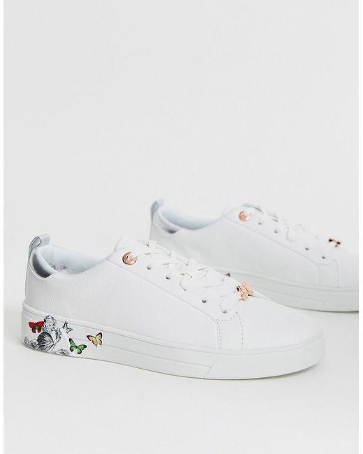 Кроссовки С Изображением Бабочек На Подошве Ted Baker, цвет: White