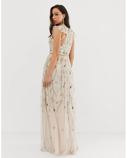 101259b7f ... ASOS - Multicolor Asos Design Tall Pretty Embroidered Floral And Sequin Mesh  Maxi Dress - Lyst