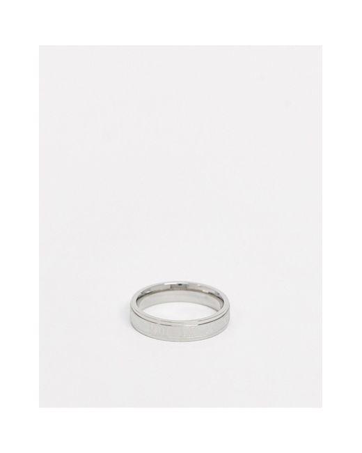 Серебристое Кольцо Из Нержавеющей Стали С Римскими Цифрами ASOS для него, цвет: Metallic
