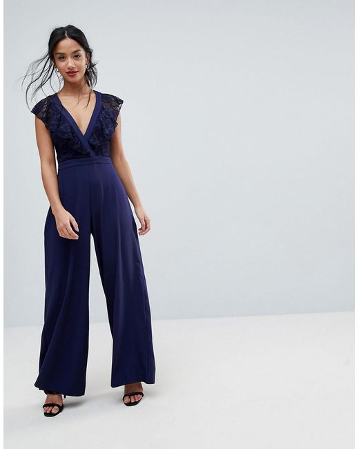 6695cdd3ca50 ... ASOS - Blue Wrap Lace Jumpsuit With Wide Leg - Lyst
