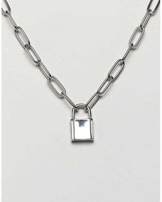 ASOS Metallic Necklace With Hardware Chain And Padlock In Silver