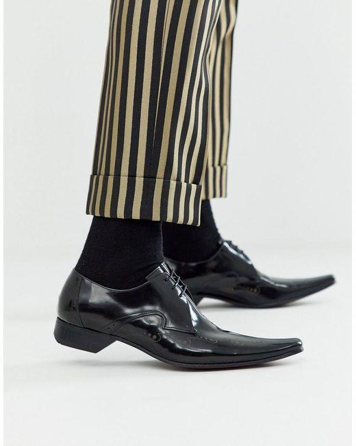 Черные Кожаные Туфли Jeffery West для него, цвет: Multicolor