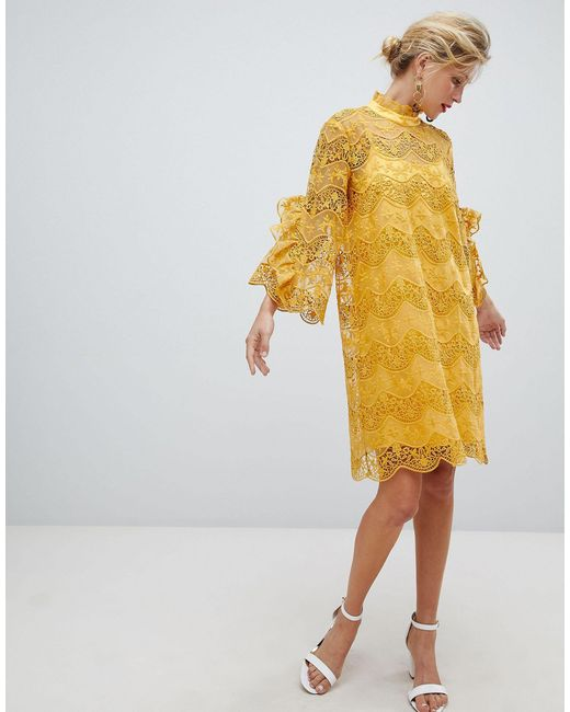 Y.A.S Yellow High Neck Lace Mini Dress