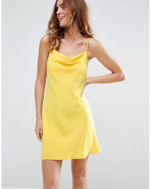 ASOS | Yellow Cowl Neck Slip Dress | Lyst