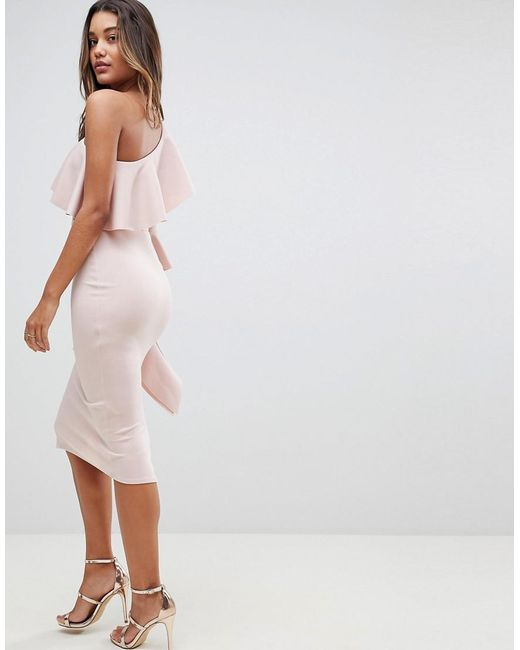 36e1b1aa370 ... ASOS - Natural Asos One Shoulder Ruffle Midi Dress With Extreme Sleeve  - Lyst