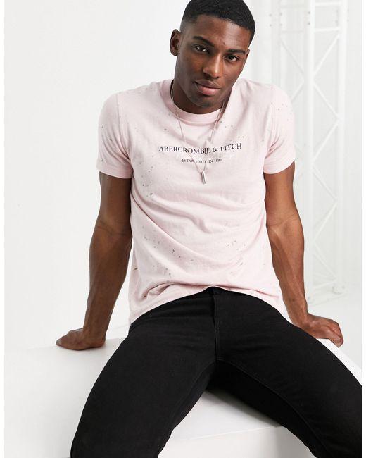 Abercrombie & Fitch – T-Shirt mit Farbverlauf und Logoprint hinten in Multicolor für Herren