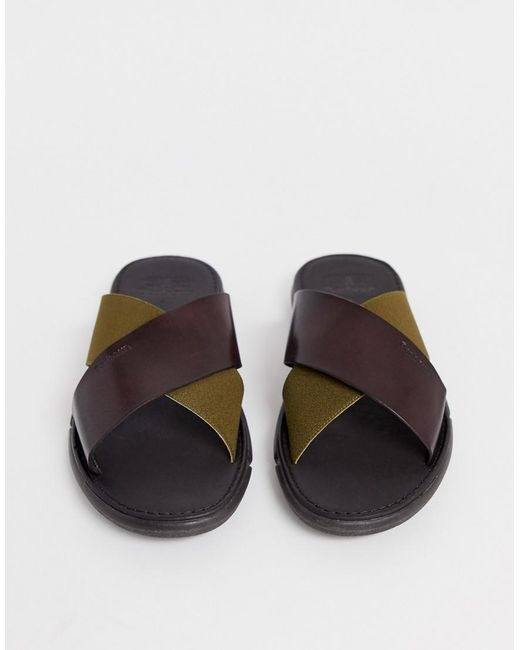 Barbour Adam Leather Cross Over Sandal In Brown/olive for men