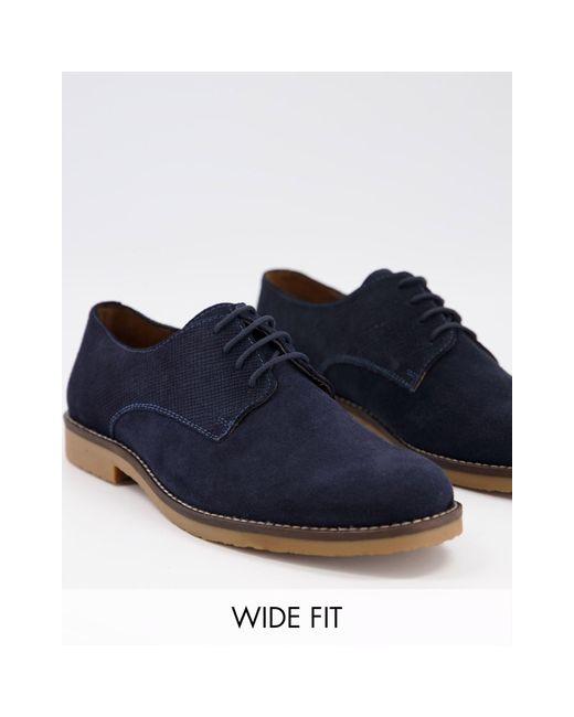 Темно-синие Замшевые Туфли-дерби На Шнуровке Wide Fit-темно-синий Dune для него, цвет: Blue